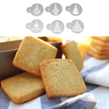 6pcs DIY Make Cake Tools Christmas Tree Cake Cookie Stencil Fondant Cake Mold Kitchen Cupcake Stencil Set Decorative Template