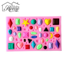 Gem Collection Shape Silicone Molds Handmade Soap Mold, Fondant Cake Decoration Sugar Craft Tools Baking Tools molde de silicone