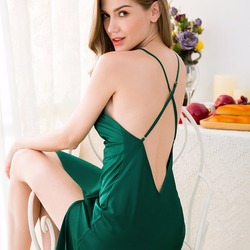 Женское ночное платье для сна, из искусственного шёлка, с V-образным вырезом