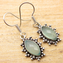Silver Overlay AQUA CHALCEDONY Earrings 1.4 Inch SHANTIINTERNATIONAL NEW