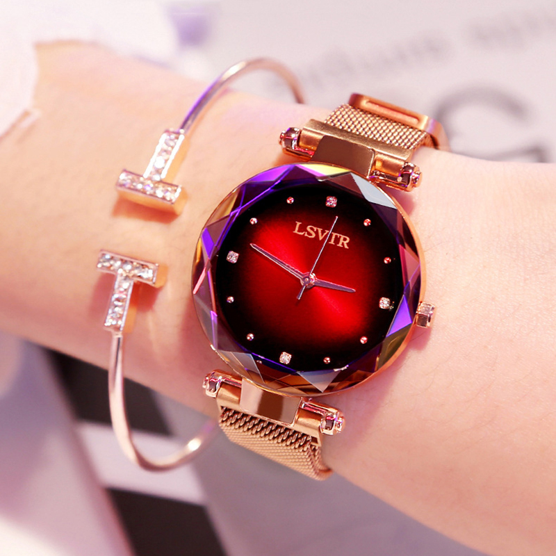 Luxury Rose Gold Women Watches Fashion Diamond Ladies Starry Sky Magnet Watch Waterproof Female Wristwatch For Gift Clock 2019  (China)