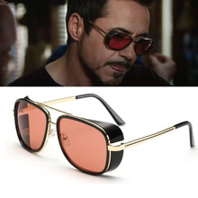 male Steampunk Sunglasses men Tony Stark Iron Man Sunglasses Vintage Luxury Brand aviator Steampunk Sun Glasses men's glasses UV