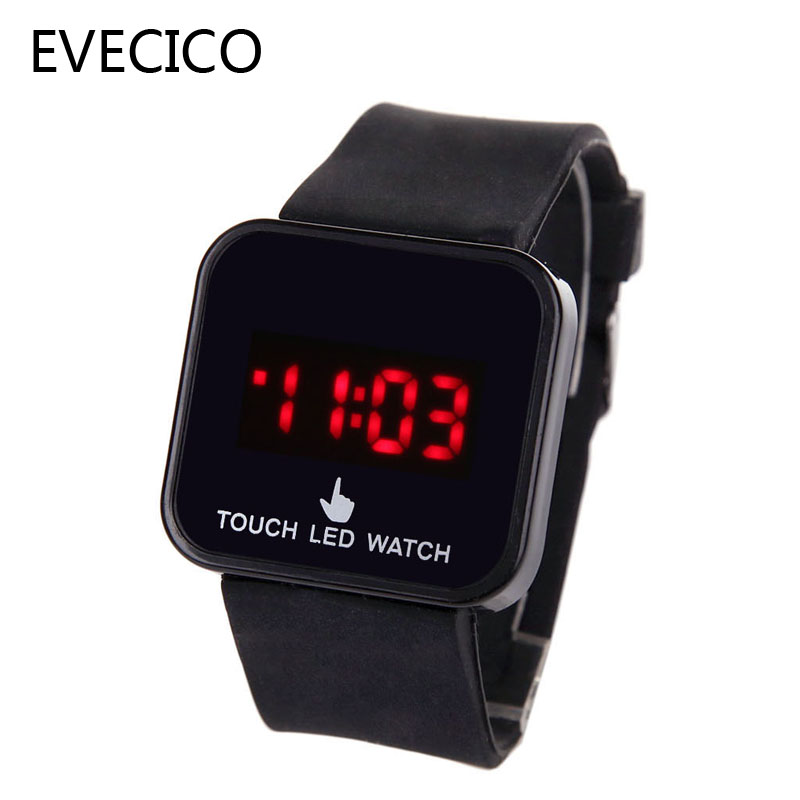 Authentic EVECICO table luminous male and female students jelly LED digital watch of wrist of fashion resin digital square<br><br>Aliexpress