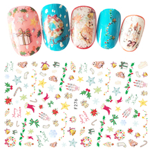 1 Sheet Top Quality Self Adhesive Xmas 3D Nails Sticker Christmas Decor New Year Gift DIY Kids Nail Art Decals