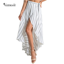 Brief Style Long Skirt Womens 2017 Stripe Print Asymmetrical Wrapped White/Black Maxi Skirt With Slit Faldas Largas LC65004