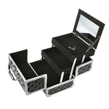 Mini Jewelry Train Case With Mirror Extendable Jewelry Organizer Box Locking Aluminum Makeup Organizer Storage Case(China)