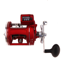 Right Hand 12 +1BB Red 700g Bearings Fishing Reel With Electric Depth Counting Multiplier Body Cast Drum Wheel Fishing Tackle(China)
