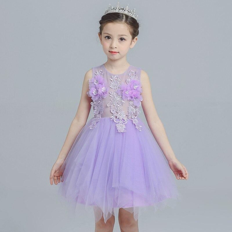 2017 New Girl Birthday Gift Flower Mesh Dress Wedding Party Purple 3D Floral Princess Baptism Dress Clothing 4-8T<br>