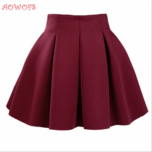 AOWOFS Autumn Winter Spring Women Mini Skirts Fashion Brand Stylish New Design Cute Novelty Casual Black High Waist Ruffle Skirt