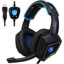 Original Spirit Wolf 7.1 Surround Sound Stereo USB Gaming Headphone with Mic Breathing LED Light For PC Gamers (red /blue)