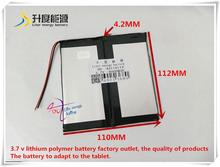 3.7V 8000mAH 42110112  Polymer lithium ion / Li-ion battery for tablet pc,PIPO,,,ainol,vido,ployer,ampe