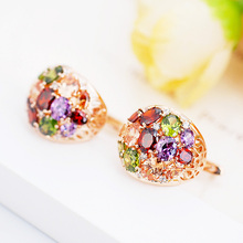 E321721 new Luxurious pupolar colors zircon earring zinc alloy rose gold color with Austria crystal CZ fashion women jewelry(China)