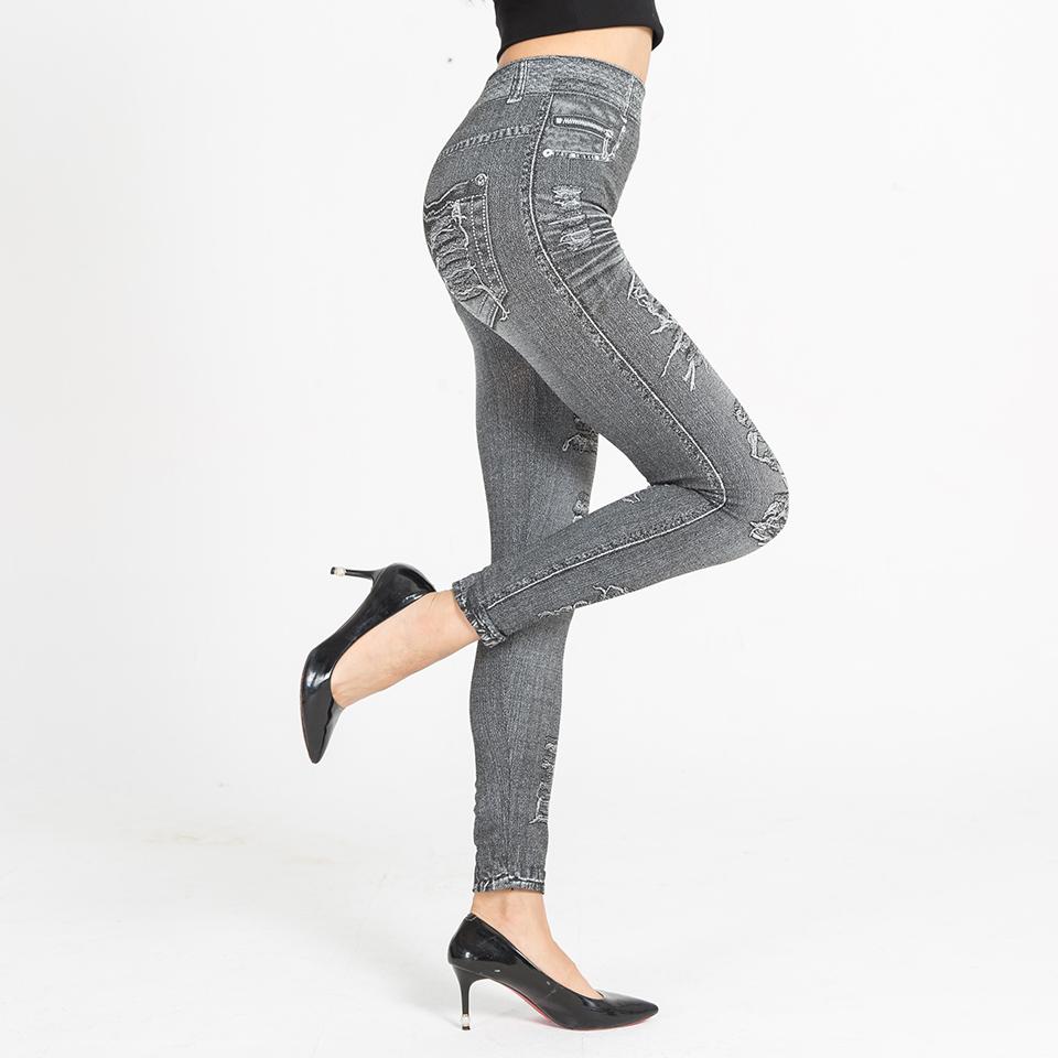 Autumn Women's Print Leggings, Mock Pocket, Hole Jeans Leggings 13