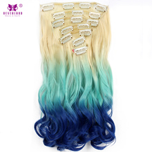 "Neverland Wavy Synthetic Natural Hair 7pcs/set 16Clips 20"" Ombre Color Wig Heat Resistent Fiber Hairpiece Clip In Hair Extension(China)"