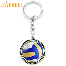 TAFREE Cool ball fan jewelry keychain beach volleyball art pendant key holder silver plated volleyball team men women gift KC255