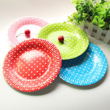 10pcs 7inch Polka Dot Striped Chevron Paper Plates Nursery Party Valentine Birthday Wedding Tableware Party Supplies