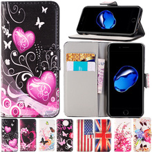 For Apple iPhone 7 PLUS 6 6s Plus SE 5 5S 5C 4 4S pu leather phone case Paint Butterfly Fly Flower flip stand Wallet back cover