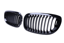 High Quality One Pair Gloss Black Kidney Front Black M-color Grille Grilles For BMW E46 2004 2005 2006 Coupe Bumper Grille //
