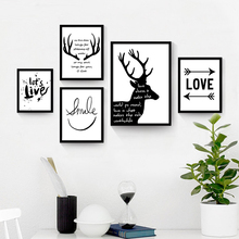 Inspiring Quotes Canvas Art Painting No Frame Nordic Deer Wall Paper Simple Mural Poster Ornaments for Home Restaurant Shop Cafe