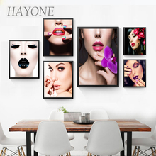 Modern sexy girls canvas painting colorful makeup red lips modern picture for Cosmetics wall art print poster painting AD2160(China)