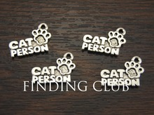 30 pcs Antique Silver Metal Alloy Cat Person dog Person Charms for Bracelets Necklace Jewellery Findings A966/A967(China)
