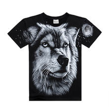 Men T shirt  2016 Summer 3D Wolf Printed On Shoulder T shirt Casual Wear Cotton Animal Men's T-shirt Famous Brand Big Size