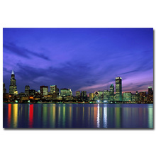 NICOLESHENTING Chicago Illinois River reflection City Night Cityscape Art Silk Poster Print 12x18 24x36 inch Wall Picture(China)