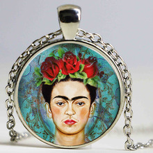 Wholesale Manufacturers Necklace Mexico Painter Freda's Portrait Glass Alloy Pendant Necklace Silver Plated Sweater Chain HZ1(China)