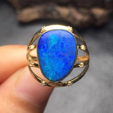 fine jewelry perfect 18k rose gold perfect highest grade 14*11mm blue opal ring for women with gold(China)
