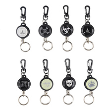 New EDC Outdoor Camping Steel Rope Burglar Keychain Stalker Soft Shell Tactical Retractable Key Chain Key Return Keyring 2503045