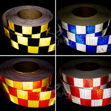 5cmX50m Traffic Multi Color Grid Design Conspicuity Reflective Safety Warning Tape Film Stickers Stripe for Truck(China)