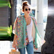 Hot Marketing Large Size Women Boho Floral Printed Chiffon Shawl Kimono Cardigan Tops Cover up Blouse Jun27 Drop Shipping