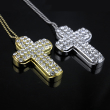 Metal cross usb flash drive,Real capacity 8gb 16gb 64gb pendrive personalized gift pen drive usb flash drive pendant crystal
