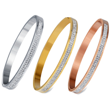 Two Row crystal rhinestone pave stainless steel love bracelets & bangles for women(China)