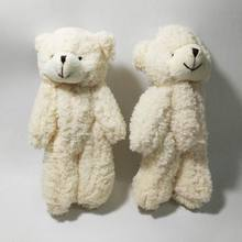 Bulk 13cm x 40pcs Cute Curly Plush Jointed Bear Pendants Soft Toys Stuffed Dolls For Key/Flower Bouquet