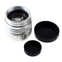 10pcs 50MM F1.4 TV Lens For Sony NEX/Panasonic/Olympus MFT M4/3 and Fuji FX Cameras Silver Black Color(China)
