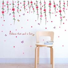 Romantic Art Wall Decal Flower Rattan Paster Removable Sticker Home stickers muraux Believe that god is fair drop shipping(China)