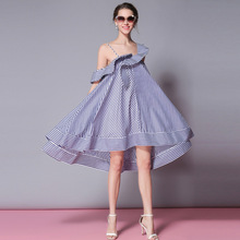 52746f388ddb EyeTornado Women striped print ruffled shirt dress summer asymmetrical  collar cotton