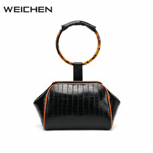 Tote Bag Leather Female Acrylic Ring Handle Hand Bag Woman 2017 Newest Crocodile Pattern Top-handle Women Handbags Bolso Mujer(China)