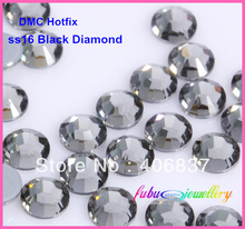 Free Shipping! 1440pcs/Lot, ss16 (3.8-4.0mm) High Quality DMC Black Diamond Iron On Rhinestones / Hot fix Rhinestones(China)