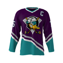 Newest Mighty Ducks Movie Collage #75 USA American V Neck League Ice Hockey Jerseys Stitched Training Hockey Ball Jersey