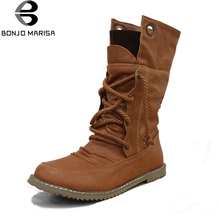 BONJOMARISA Women 오토바이 퍼 Boots Flat Lace Up Winter Shoes Woman Mid-calf 눈 Boots 숙 녀 Shoes 큰 Size 34-43(China)