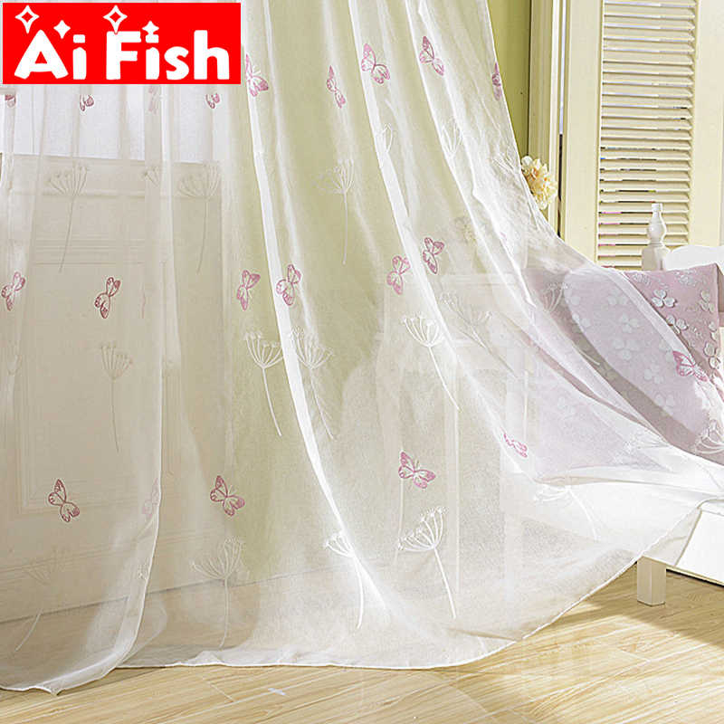 Pastoral Embroidered Window Sheers Drapes White Dandelion Tulle for windows Pink Butterfly Curtains For Living Room AP266-40