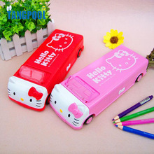 2016 Multi-function Automatic Pencil Case with Wheel Double Layer Plastic Pencil Box Free Shipping School Supplies