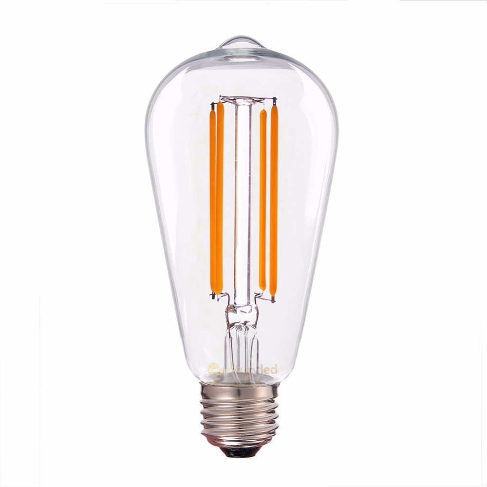 Dimmable,ST58 Edison Style ,Edison LED Long Filament Bulb,Retro lamp,E26 E27 Base 110V-130V 220V-240V AC Super Warm 2200K<br>