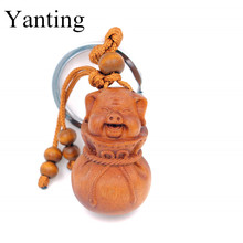 Yanting New Zodiac wood keychains Dog pig Dragon trinkets car key chain women charms for bags key rings dolls pendant gifts 018(China)