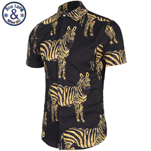2017 New Europe America Top Hot Golden Zebra Print Short Sleeve Striped Shirts Men Shirt Single Breasted Casual shirts M-3XL