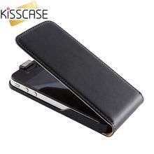 KISSCASE Retro Real Genuine Leather Case for iPhone 4 4S 4G 5 5S 5G Luxury Vertical Magnetic Flip Phone Accessories Cover Black