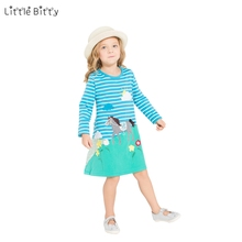 Little Bitty 2017 Kids Clothing Print Design Kids Dress Princess Dress New Fashion Children Clothes Printing Horse Girls Dress(China)