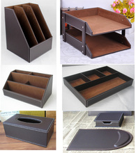 7PCS/set wooden leather office desk filing tray document stand stationery organizer tissue box mouse pad note case brown K262(China)